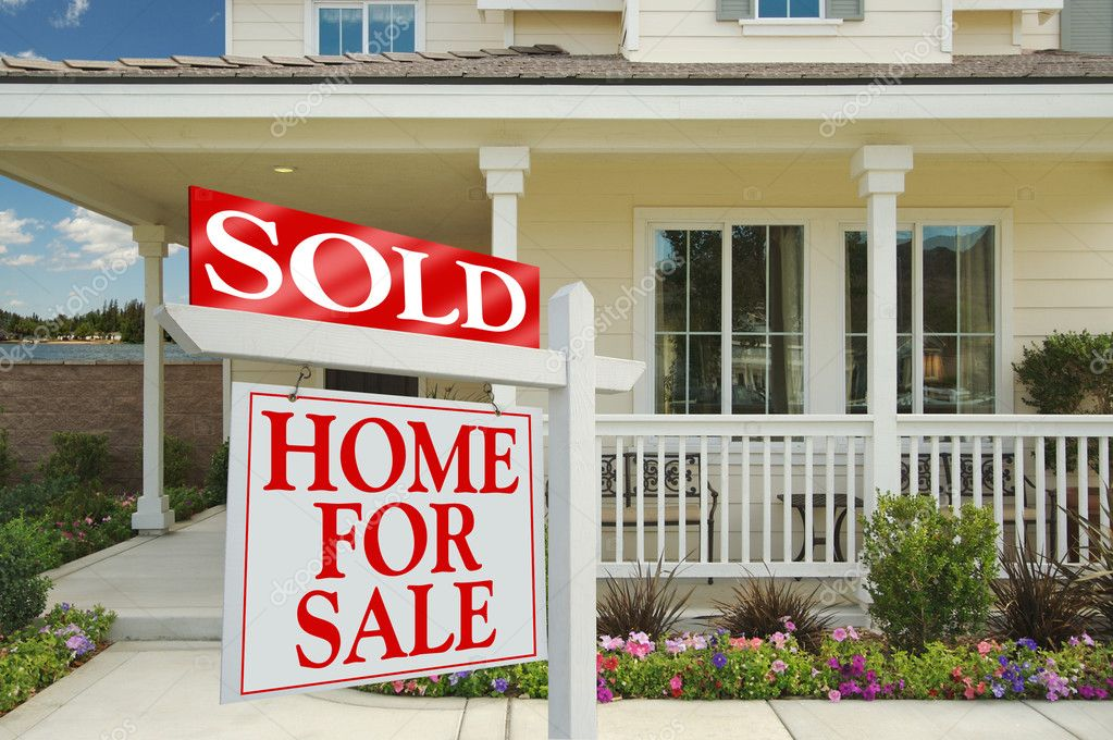 Sold Home For Sale Sign and New House \u2014 Stock Photo © Feverpitch