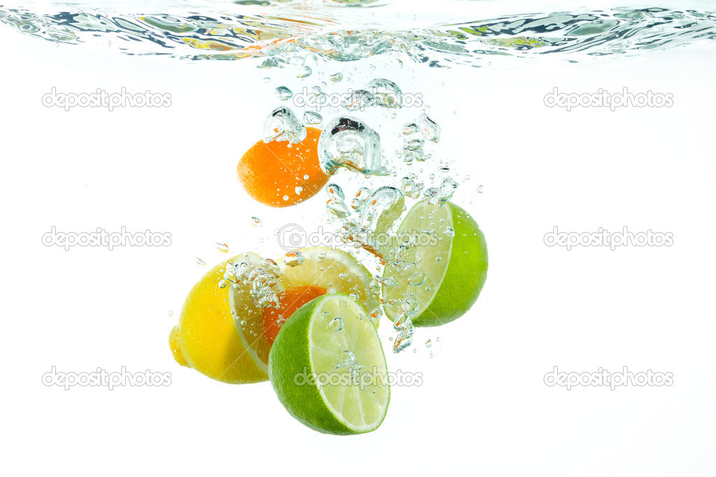 Falling Water Live Wallpaper Citrus Fruit Falling Into Clear Water Stock Photo