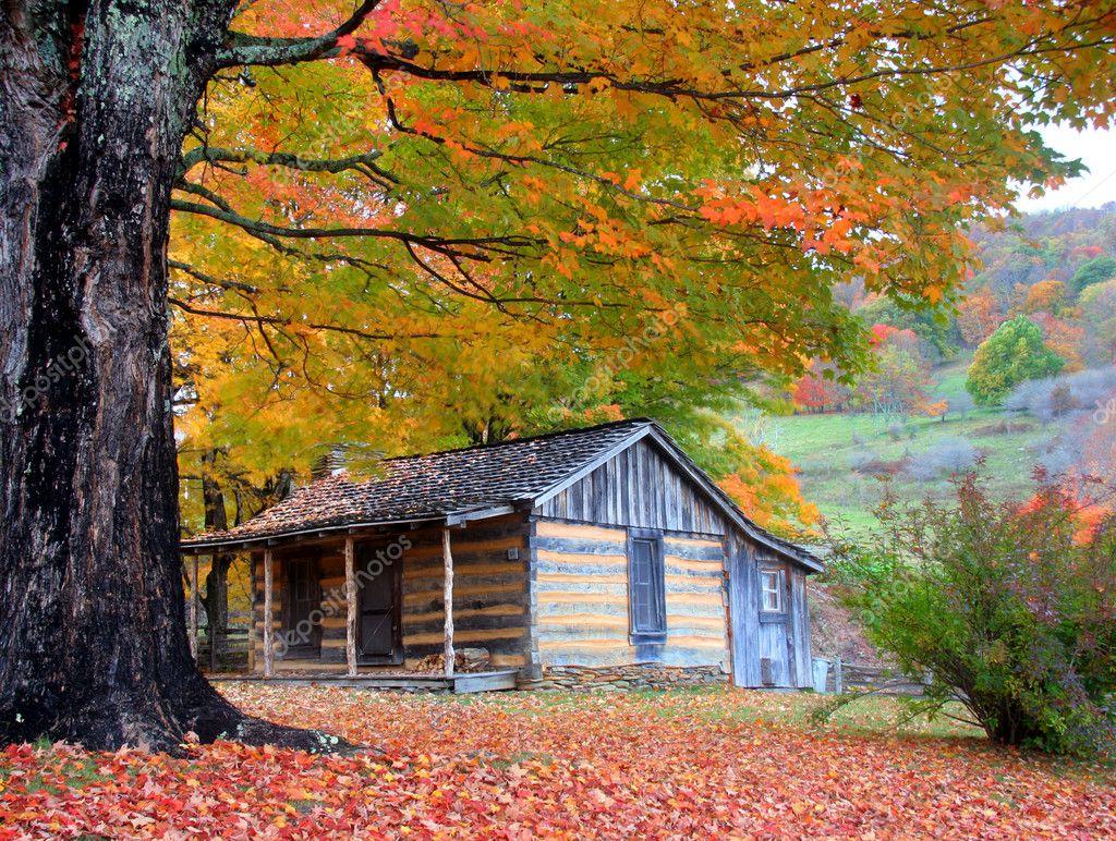 Fall In The Smokies Wallpaper Beautiful Rustic Log Cabin In Fall Stock Photo