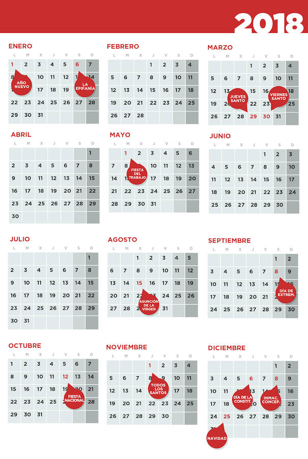 Extremadura aprueba el calendario de festivos para 2018 Hoy