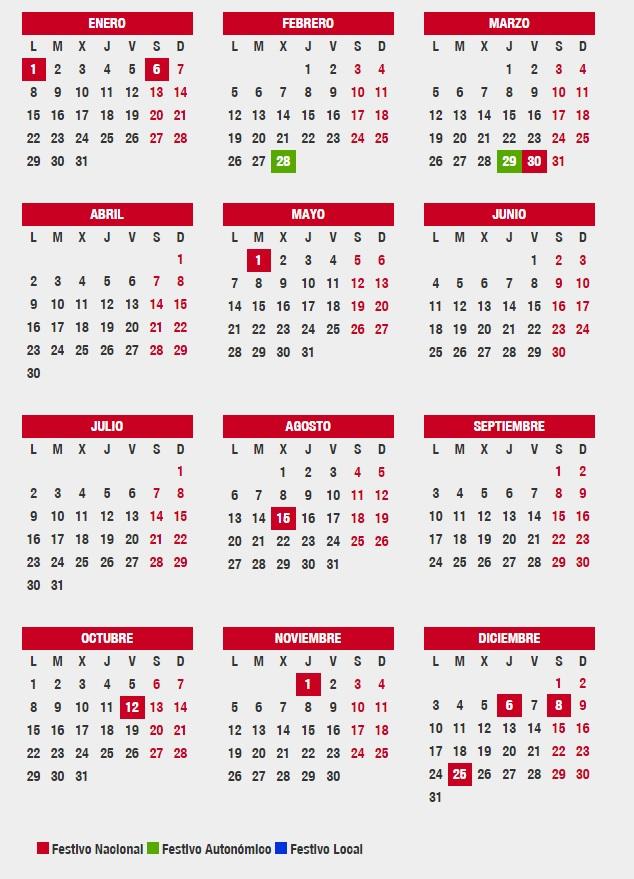 Este es el Calendario laboral en Andalucía para 2018 todos los