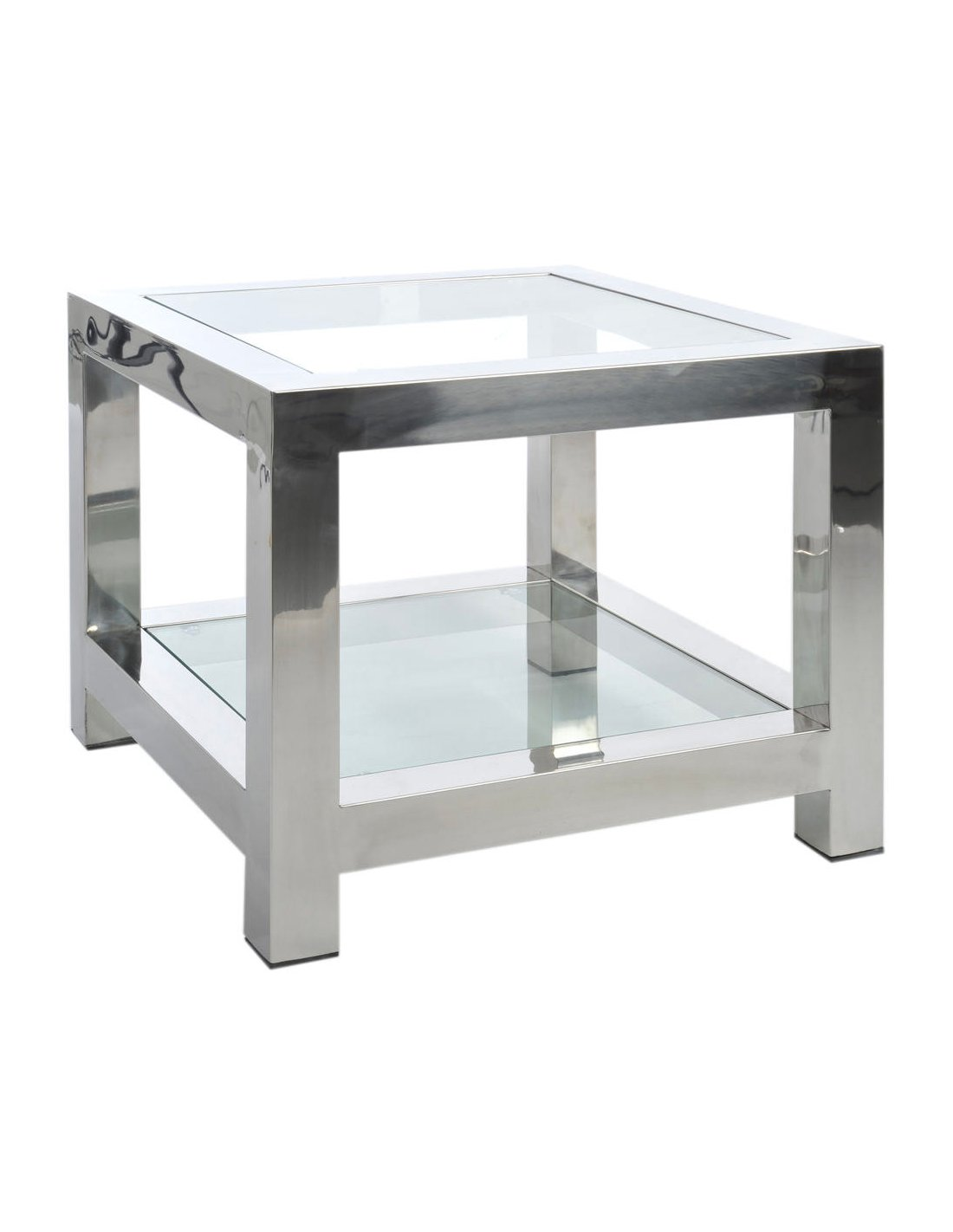 Tables Gigognes Verre Table Basse Acier Inoxydable Abington Creek J Line Argent