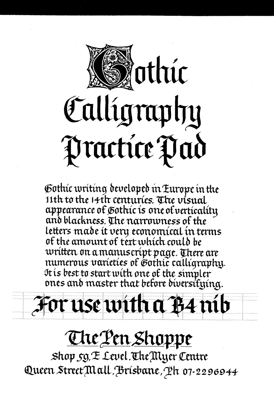Calligraphy Online Gothic Calligraphy Practice Pad