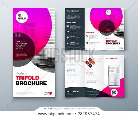 Tri Fold Brochure Design Pink Business Template For Tri Fold Flyer Layout  With Modern Circle Photo poster