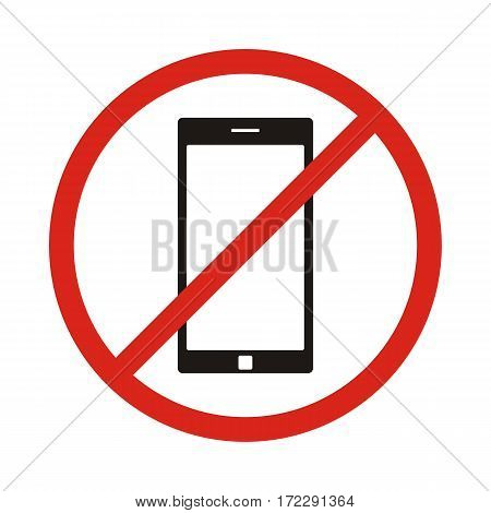 No phone sign No talking by phone sign Red prohibition Vector