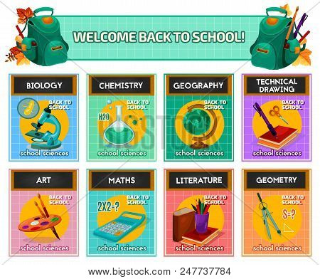 School Subjects Card For Back To School And Education Poster