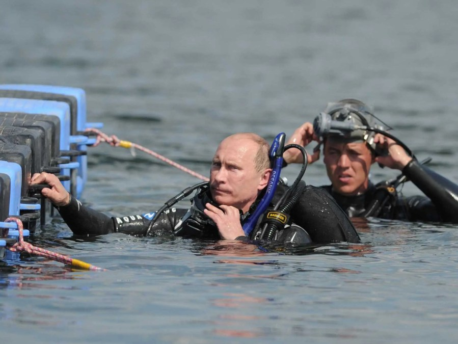 Putin is also a man of science. Here he SCUBA dives at an archaeological site.