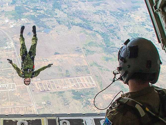 Rio Canada Paratrooper Jumps Out Cargo Door Of A C130 Hercules
