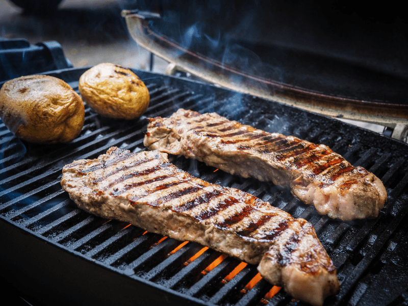 5. Grill the steak on high until a nice charring appears on both sides.