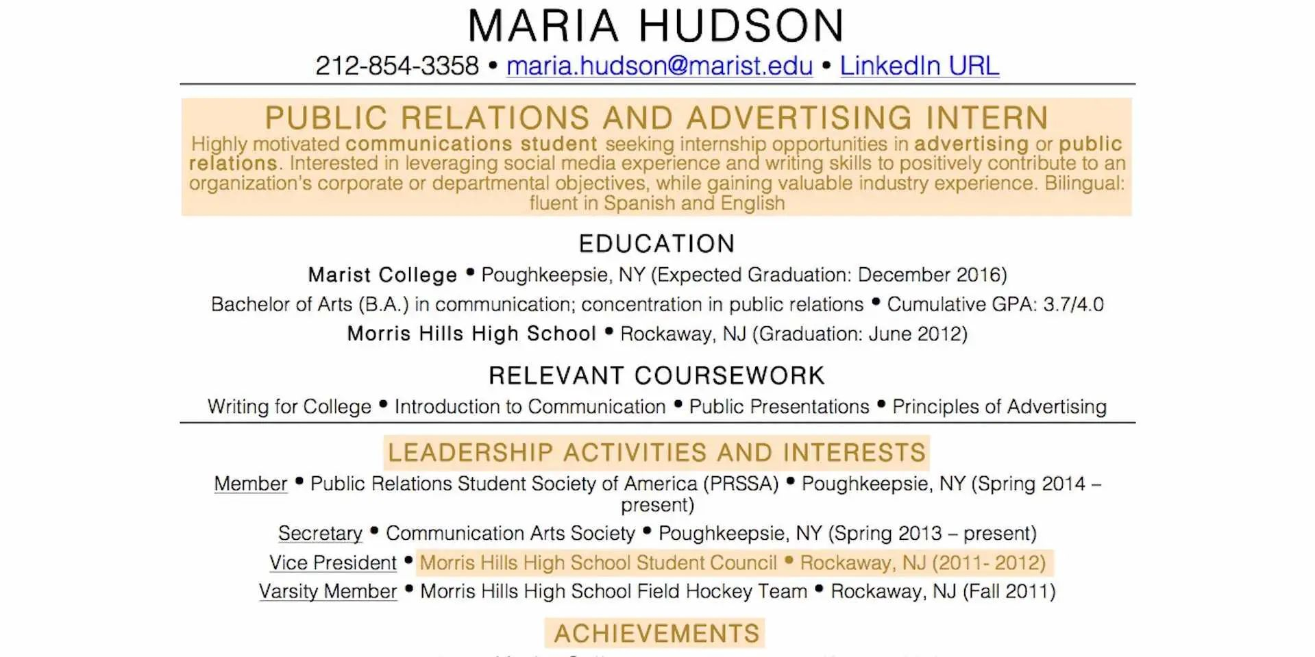example of a resume of someone with no work experience