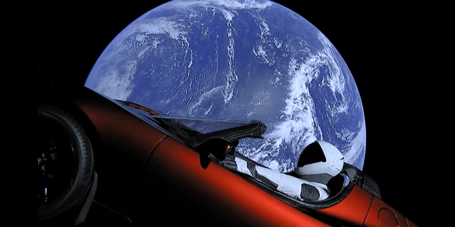 Elon Musk Car In Spac Wallpaper Tesla Roadster Starman Live Video Feed From Spacex Falcon