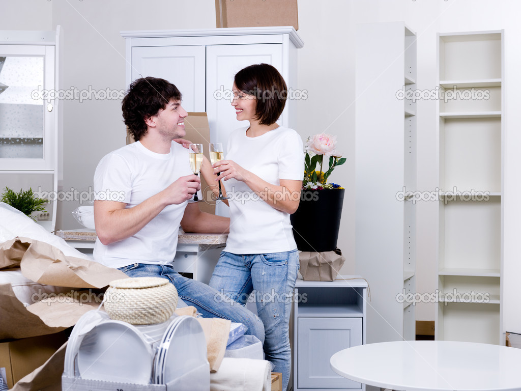 Couple Apartments Couple Celebrating New Apartment Stock Photo