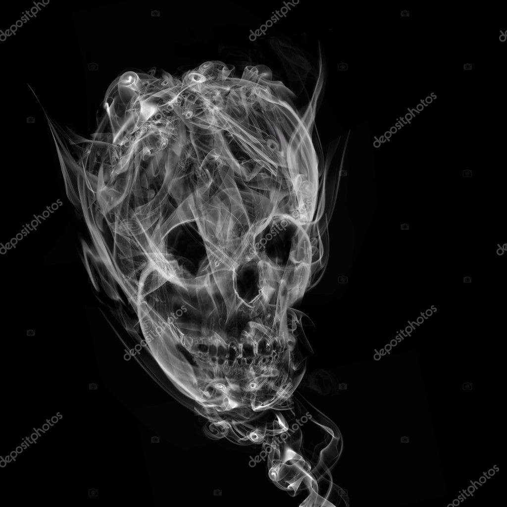 Falling Weed Live Wallpaper Skull Made Up Of Smoke Black Background Stock Photo