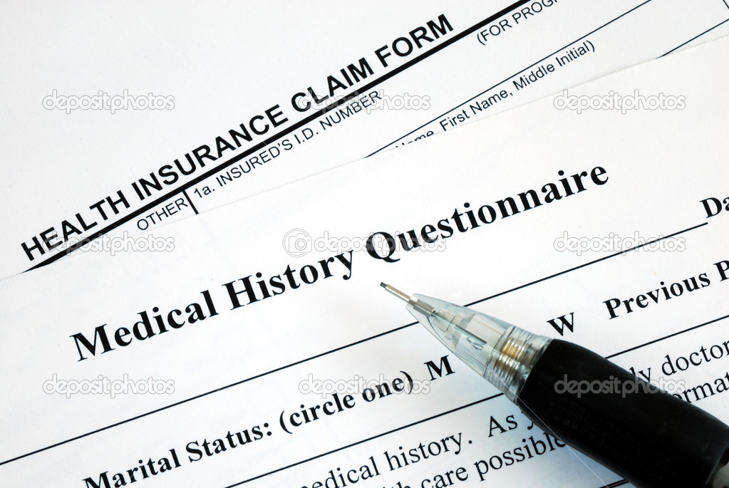 Medical claim form and patient medical history questionnaire \u2014 Stock