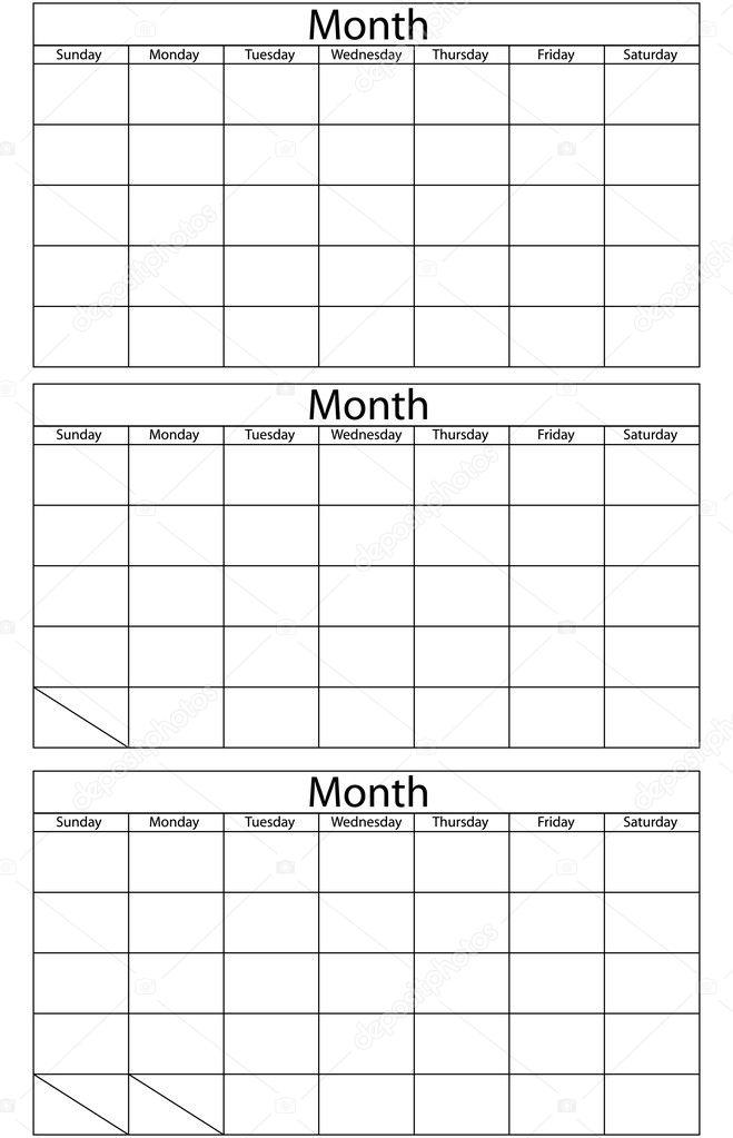 Blank Calendar Template \u2014 Stock Vector © apotterdd #3090205