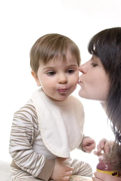 Toddler Kissing Newborn Kissing Baby — Stock Photo © Solosana 3084417