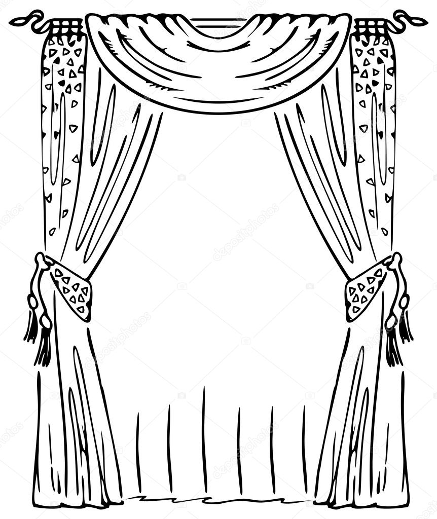 stage curtains coloring pages
