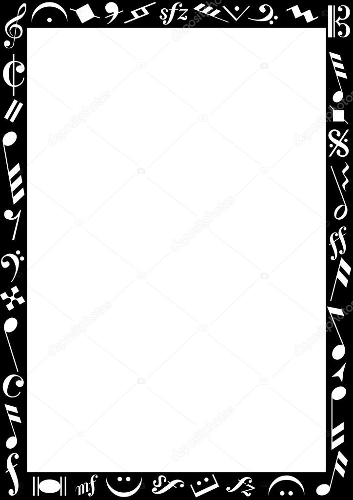 Black border with music signs \u2014 Stock Vector © photovectorino #3506273