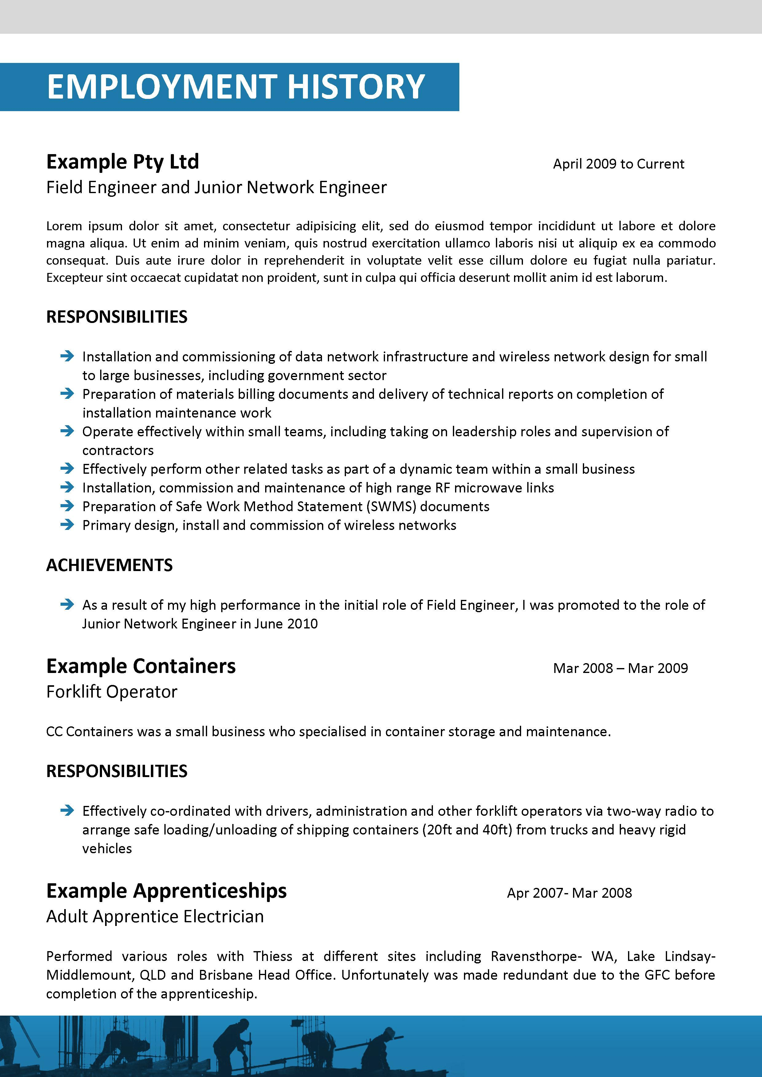 example of resume for rigger