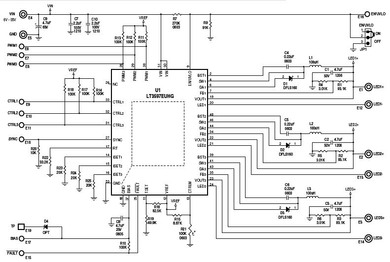 60v triple step down led driver
