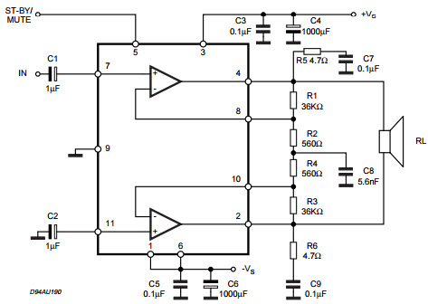 TDA7265_Typical Application Reference Design Audio Power Amplifier