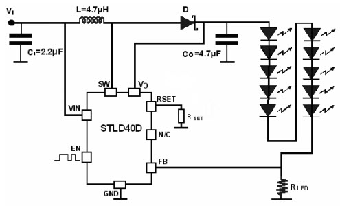 STLD40D_Typical Application Reference Design White LED Driver