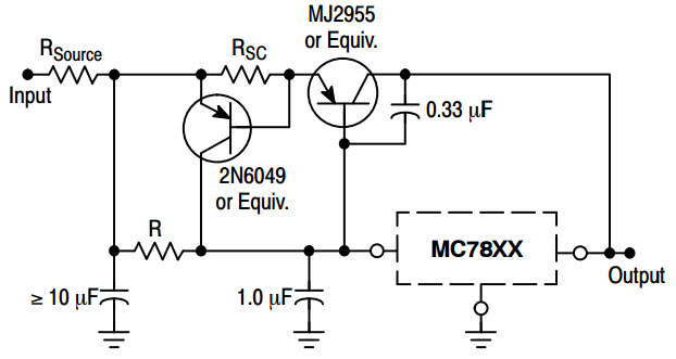 circuit voltage regulation with the 7805 enlarge