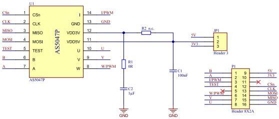 AS5047P-TS_EK_AB Reference Design Magnetic Sensor Arrow