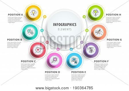 Business 8 Step Process Chart Infographics With Step Circles