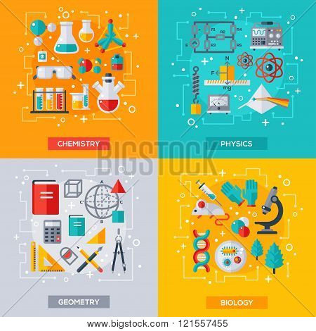 Flat design vector concepts, education and science Poster ID121557455