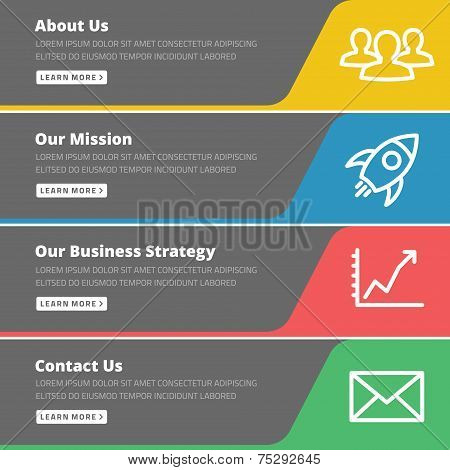 Flat design concept for website template - about us, our mission