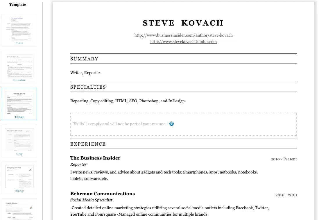 Functional Best Resume Builder Site  Best Resume Sites