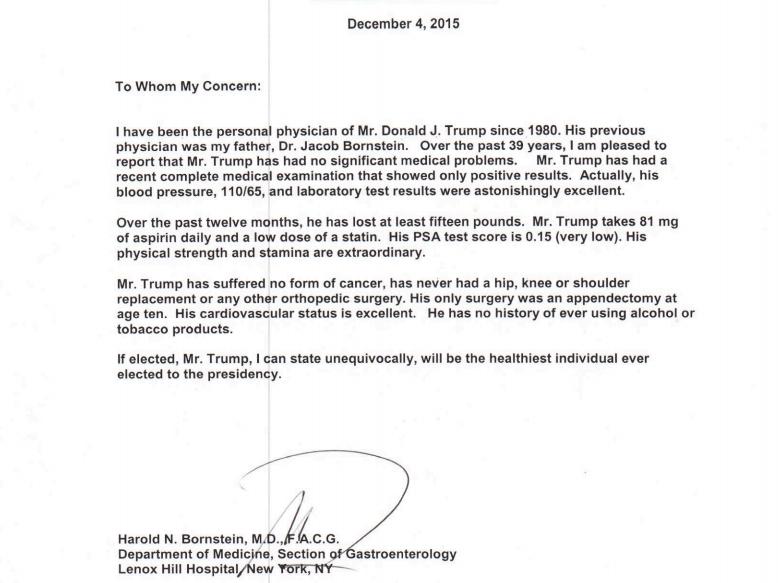 trump fake doctors note