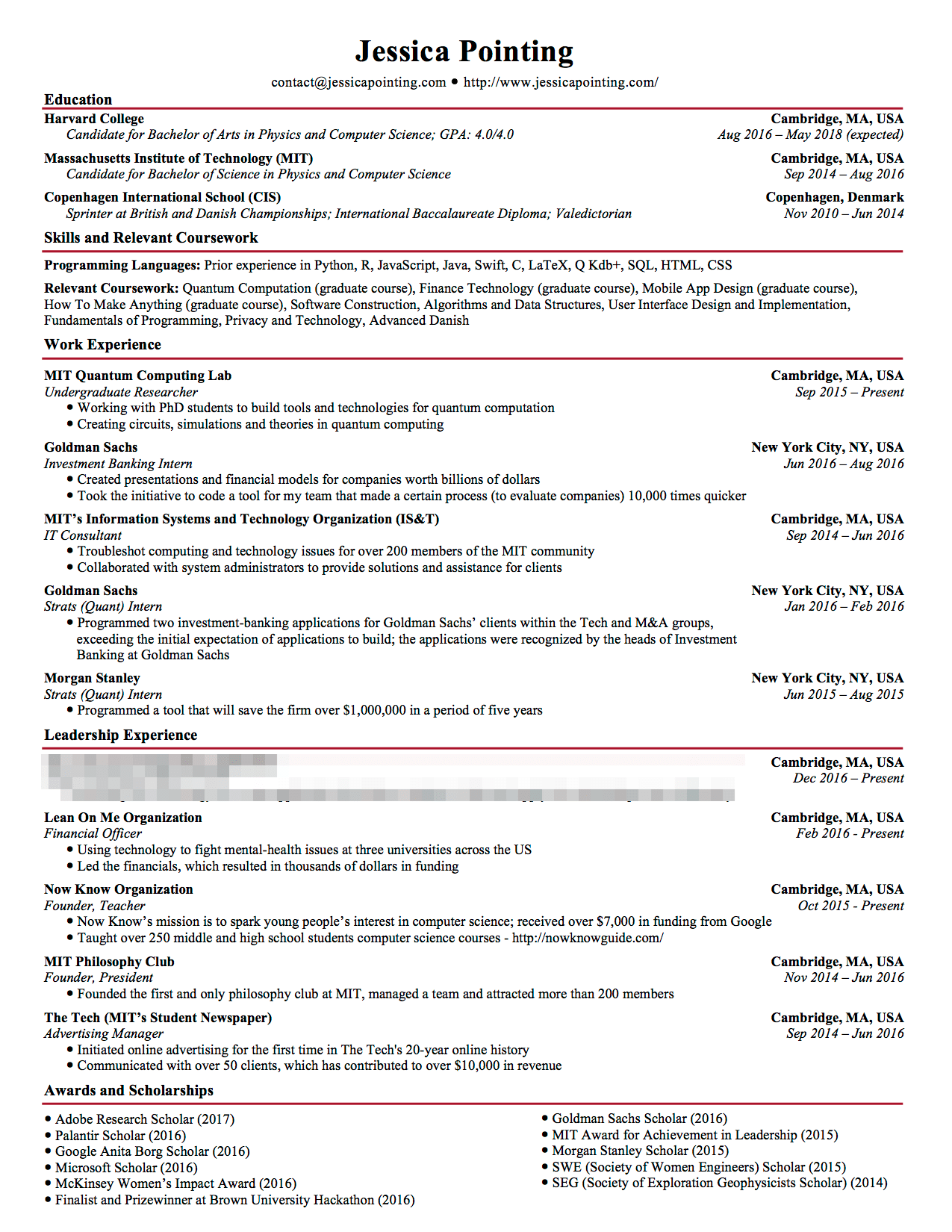resume for goldman sachs internship