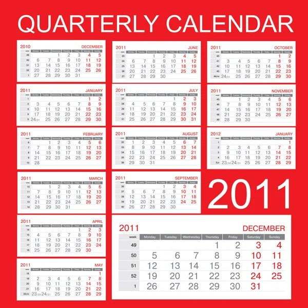 Free Excel Calendar Templates Smartsheet Less Talk Quarterly Calendar 2011
