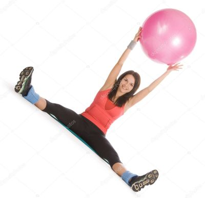 Attractive Young Female With Fitness Ball In Stretching Stock