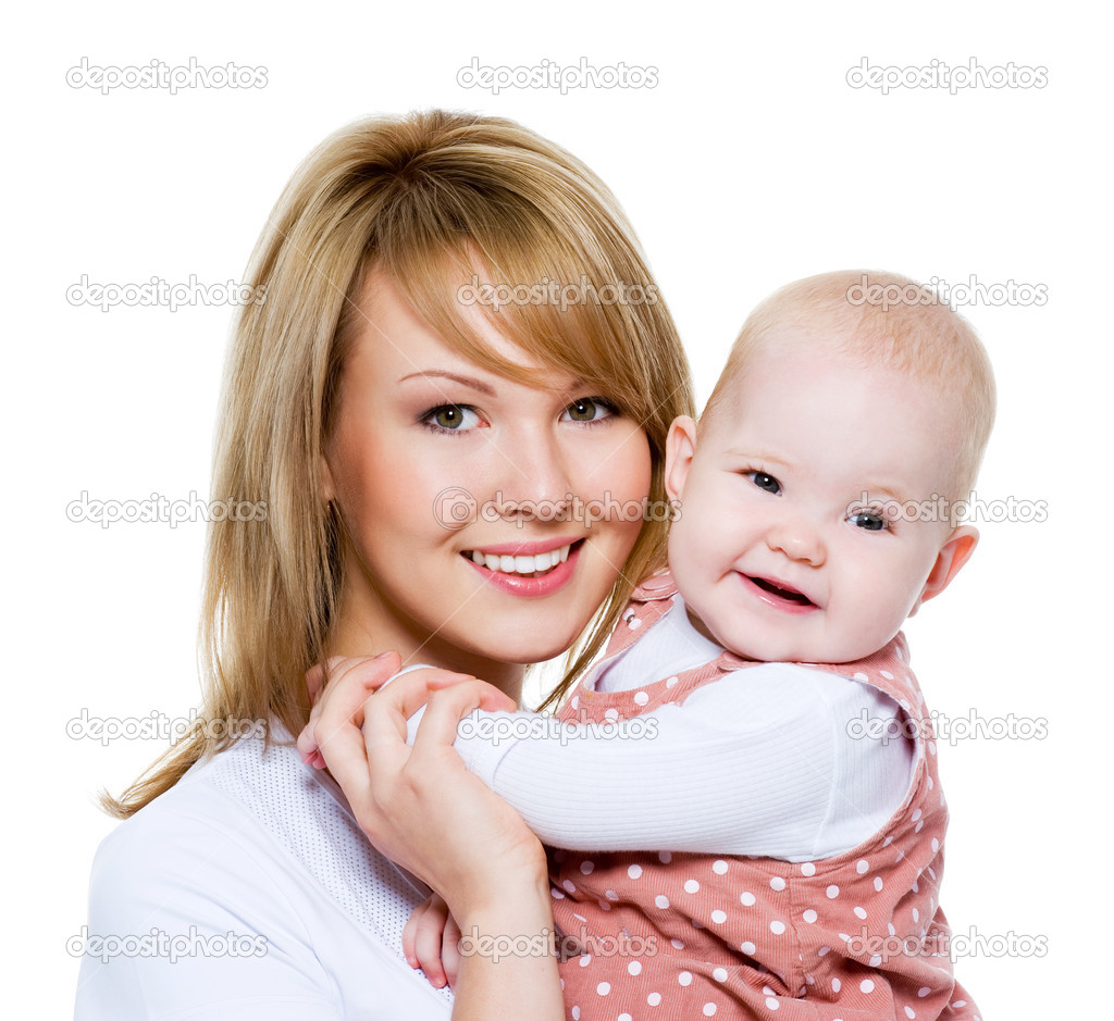 Toddler Kissing Newborn Beautiful Happy Mother With Baby — Stock Photo