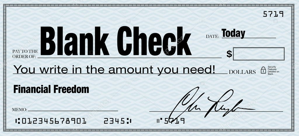 Blank Check - Financial Freedom from Wealth \u2014 Stock Photo © iqoncept