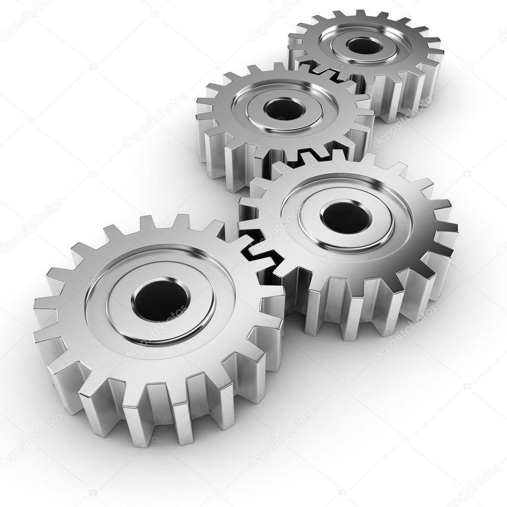 Engine Live 3d Wallpaper 3d Metal Gear Wheel Render On White Background Stock