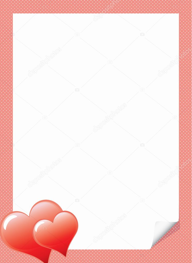 Love letter template with hearts \u2014 Stock Vector © illustrart #4609639