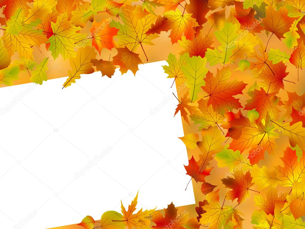 Tree With Leaves Falling Wallpaper Thanksgiving Fall Autumn Background Stock Vector