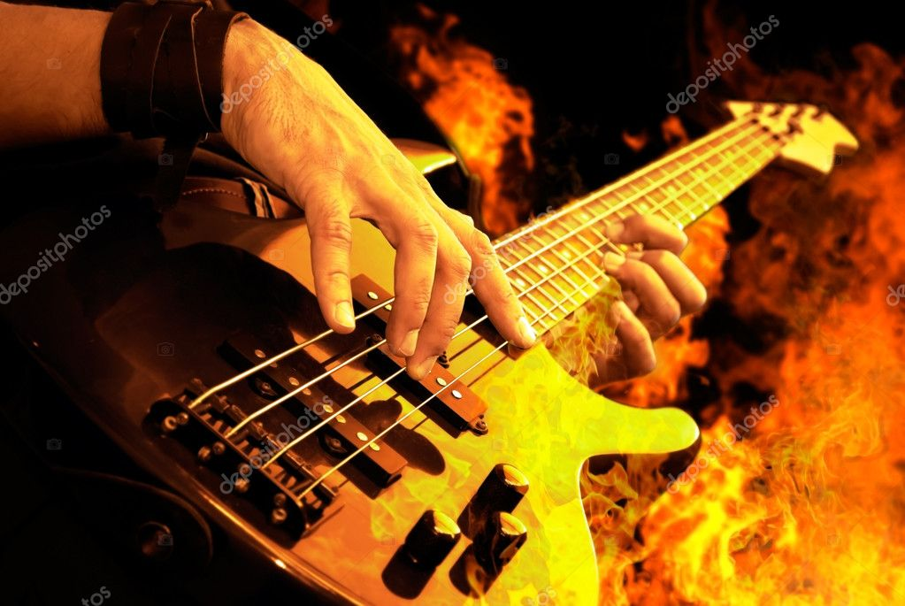 Rock N Roll Wallpaper For Girls Guitar Playing In Fire Stock Photo 169 Sinelyov 4107086