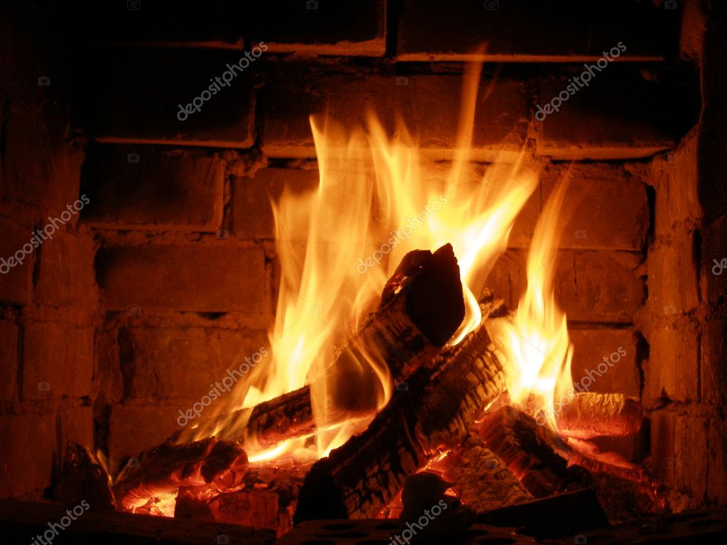 Camino A Fuoco Fire In A Fireplace Stock Photo Sergeyksen 4125979