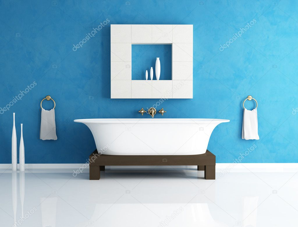 Badezimmer Blau Blaue Bad Stockfoto Archideaphoto 4876881