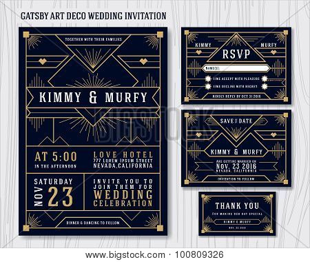 Great Gatsby Art Deco Wedding Invitation Design Poster ID100809326