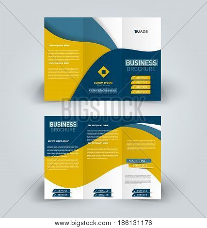 Brochure template Business trifold flyer Creative design trend for  professional corporate style Vector illustration Blue and yellow color  poster