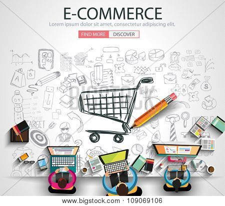 E-commerce Concept with Doodle design style on line marketing - poster on line