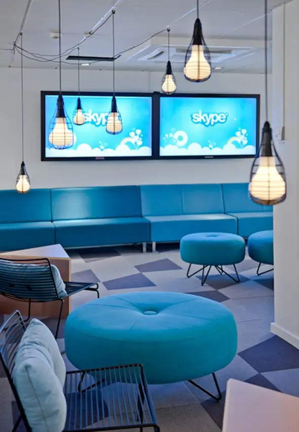 Skype's new Stockholm office is full of sky blue structures.
