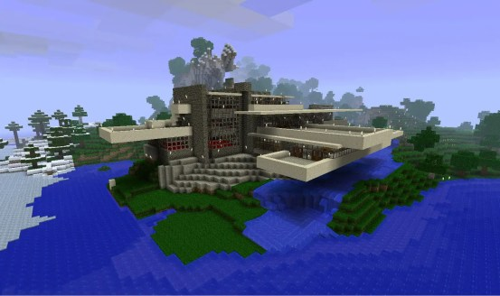 """Minecraft"" version of Fallingwater"