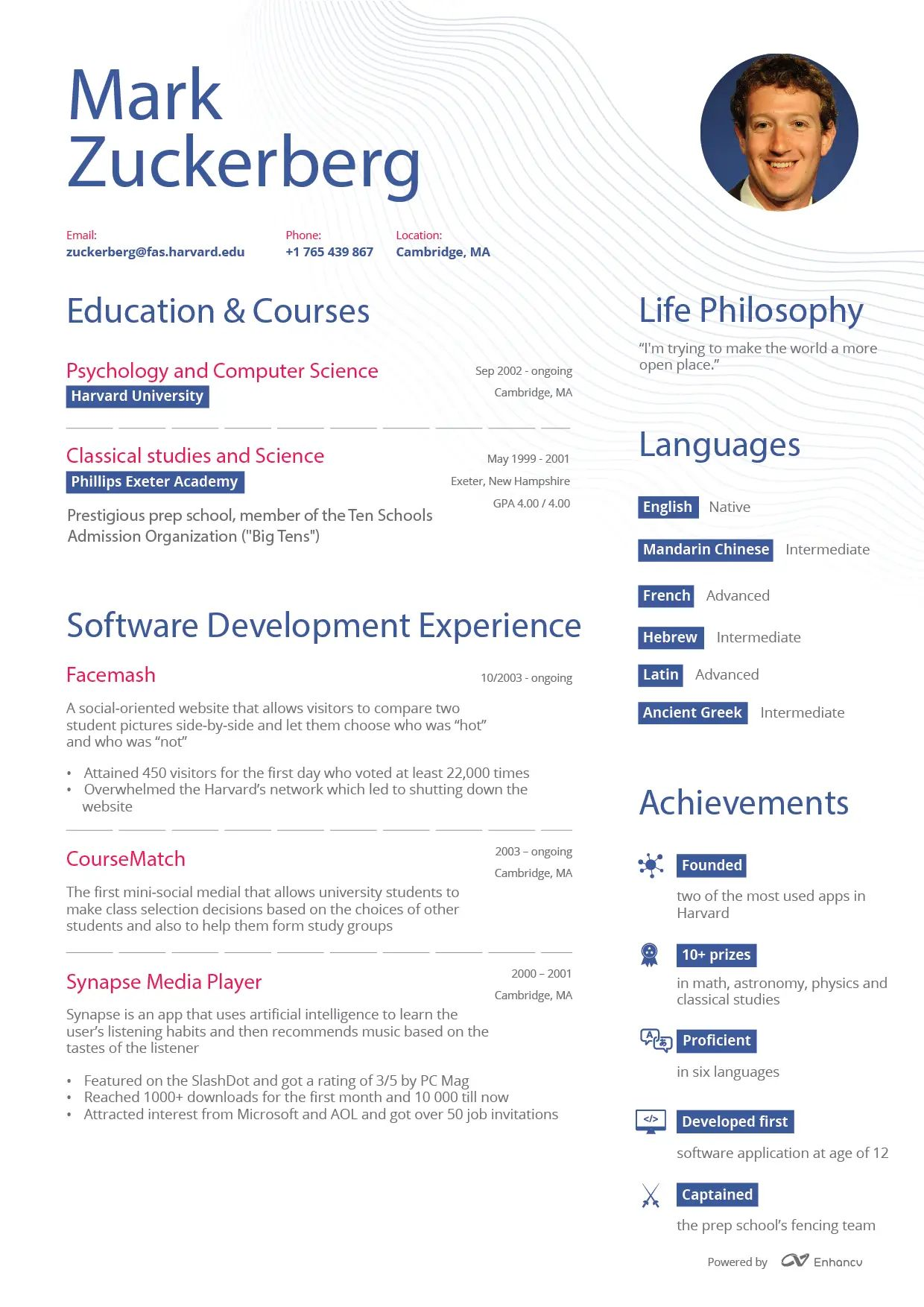 english cv management